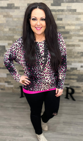 Hot Pink Leopard Dolman Sleeve Top (RESTOCK ARRIVING 2.26.21)
