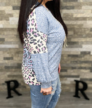 Leopard & Marled Fabric Blocked Top