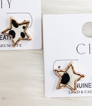 Animal Print Star Stud Earrings