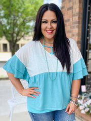 Colorblock Ruffle Sleeve Top w/Print Back Contrast