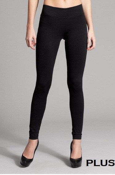Curvy Solid Full Length Leggings - Really Roxie