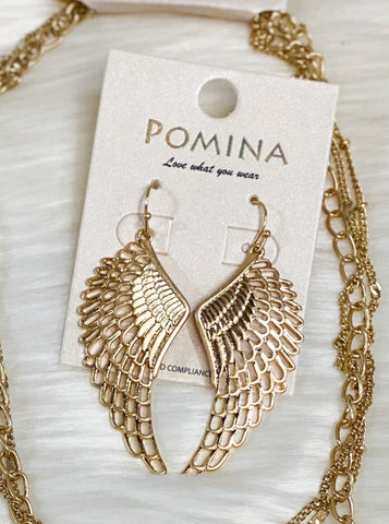 Gold Angel Wings Earrings