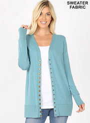 Mid Thigh Length Snap Front Cardigans (S-XL)