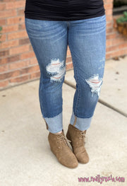 Cuffed Destroyed Straight Fit Jeans
