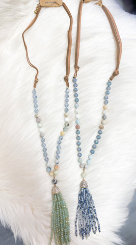 Stone Bead Necklace w/Glass Bead Tassel (Blue & Sage)