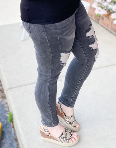Grey Destroyed Skinny Jeans