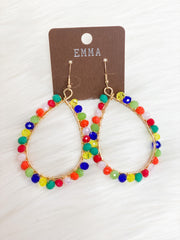 Multi Color Glass Bead Teardrop Earrings #2
