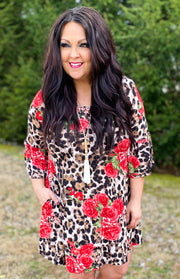 Leopard Floral Ruffle Sleeve Dress (S-3X)