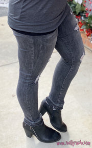 Grey Destroyed Skinny Jeans w/Release Hem