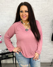 Mauve Slouchy Top w/Inverted Seams (S-3X)