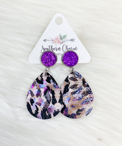 Purple Druzy & Leopard Dangles