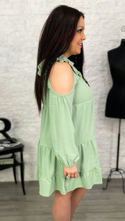 Sage Open Shoulder Tiered Ruffle Dress (S-3X)