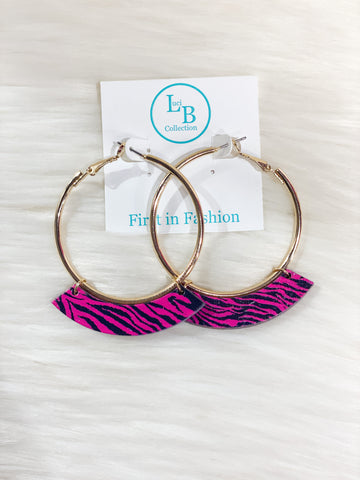 Hot Pink Zebra Hoop Earrings