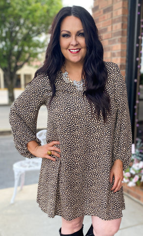 Leopard Bubble Sleeve Dress (S-3X)