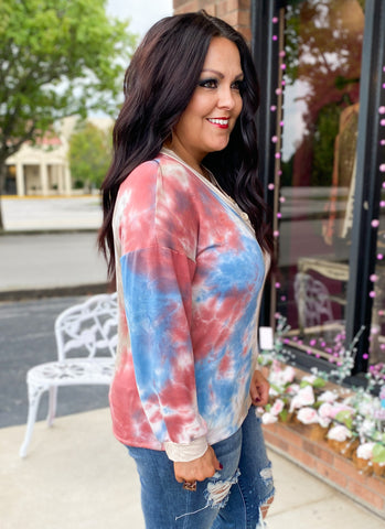 Tie Dye Button Detail Top