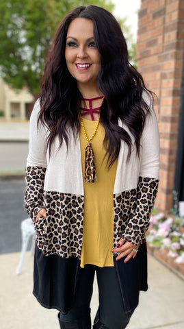 Leopard Colorblock Cardigan w/Pockets (S-3X)
