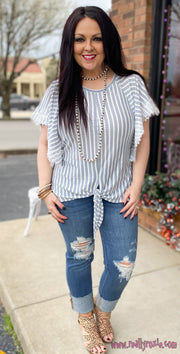 Striped Flutter Sleeve Top w/Front Tie