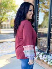 Colorblock Tiered Ruffle Sleeve Top (S-3X)