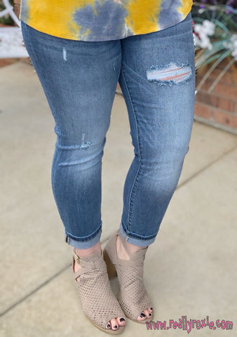 Medium Wash Distressed Boyfriend Jeans