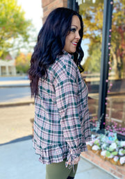 Ruffle Hem Plaid Button Up