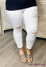 White Destroyed Skinny Jeans