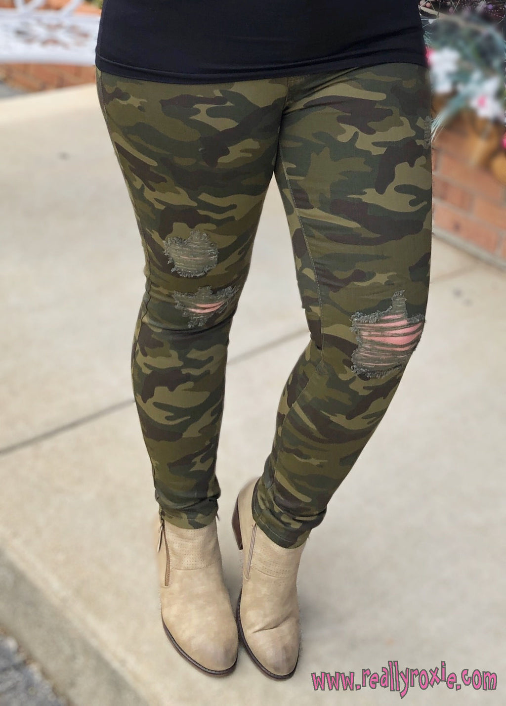 Distressed Camo Skinny Jeans (Judy Blue)