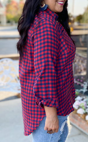 Navy/Red Checked Flannel (S-2X)