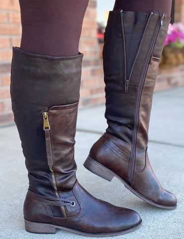 Brown Adjustable Calf Riding Boots