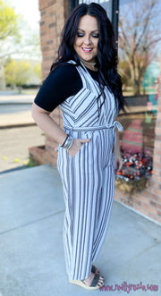 Herringbone Stripe Belted Jumpsuit