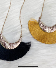 Hammered Metal Fringe Necklace