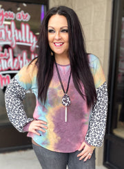 Tie Dye Top w/Leopard Bubble Sleeve (S-3X)