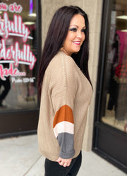 Taupe Colorblock Sleeve OVERSIZED Sweater (S-3X)