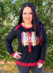 Blessed Buffalo Plaid Trimmed Top (S-2X)