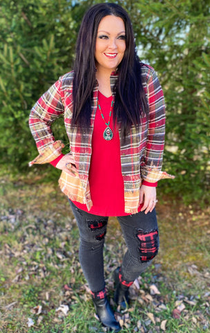 Red/Olive Bleached Flannel (S-2X)