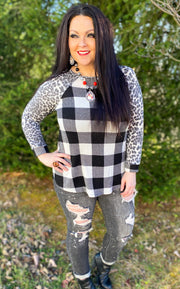 White Buffalo Plaid Top w/Leopard Sleeve (S-3X)
