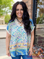 Mixed Print Crochet Lace Trim Top