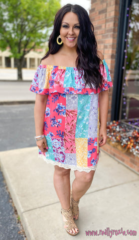 Floral Ruffle Off the Shoulder Dress