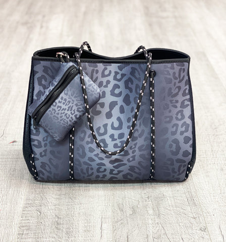 Black Leopard Neoprene Tote Bag