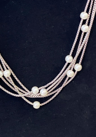 5 Strand Silver & Pearl Necklace Set