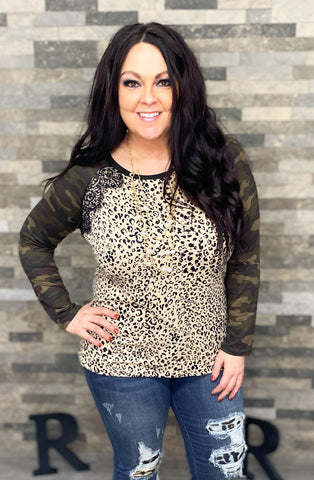 Leopard Top w/Camo Sleeves & Lace Accent