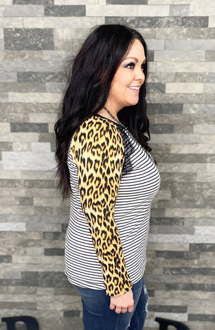 Stripe Top w/Leopard Sleeves & Lace Accent