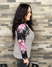 Stripe Top w/Floral Sleeves & Lace Accent