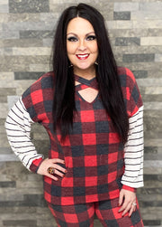 Buffalo Plaid Cross Strap Top w/Stripe Sleeves (S-3X)