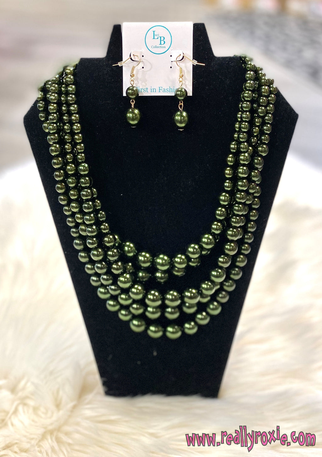 Olive Multi Strand Beaded Necklace Set