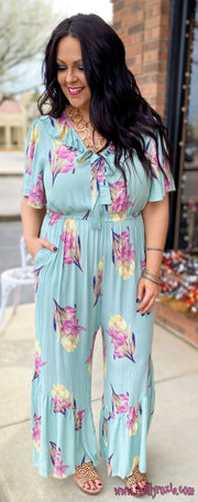 Floral Ruffle Jumpsuit w/Pockets