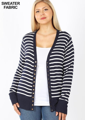 Striped Snap Cardigans (7 Colors)