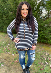 Stripe Cowl Neck Top w/Leopard Accent