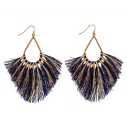 Metallic Gold Stripe Fringe Earrings (7 Colors)