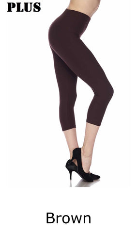 Curvy Brushed Capri Leggings w/Wide Band (More Colors)