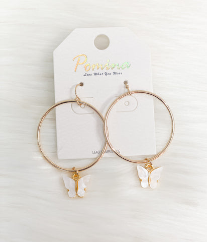 Butterfly Dangle Hoop Earrings